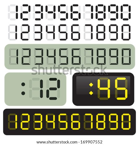 3 Sets of vector LCD clock digits. LED. - stock vector
