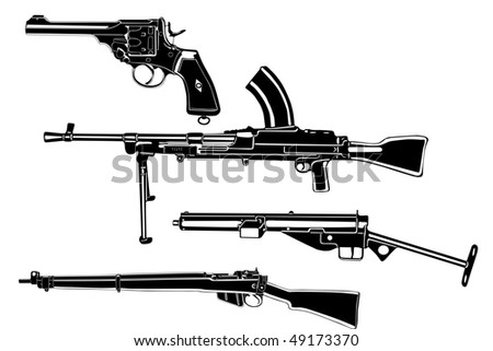 Several guns, old, in the vector