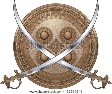 Shield Crossed Swords Stock Vector 411150148 - Shutterstock