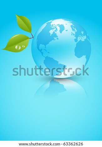 Shiny blue Earth planet with leaves - stock vector