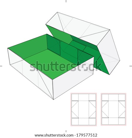 Shoes Cardboard Box with Die-cut Pattern - stock vector