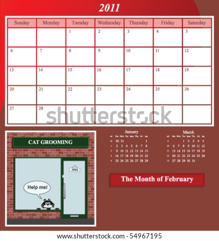 2011 Shop series calendar for the month of February