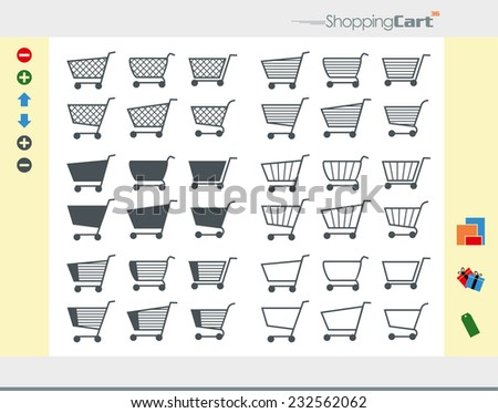 36 Shopping Cart Icons divided into six categories plus symbols (add, delete, package, gift, tag, arrow) - stock vector