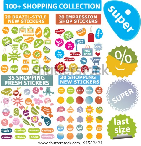 100 shopping+ collection. vector - stock vector