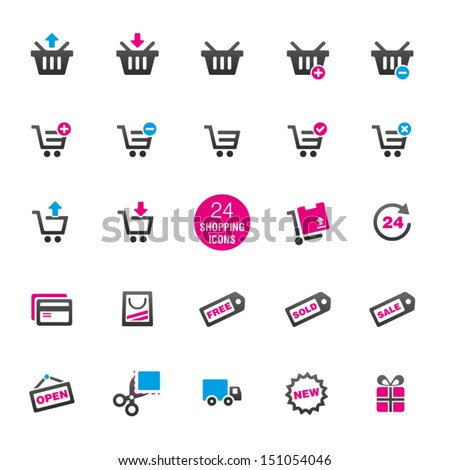24 Shopping Icons - stock vector
