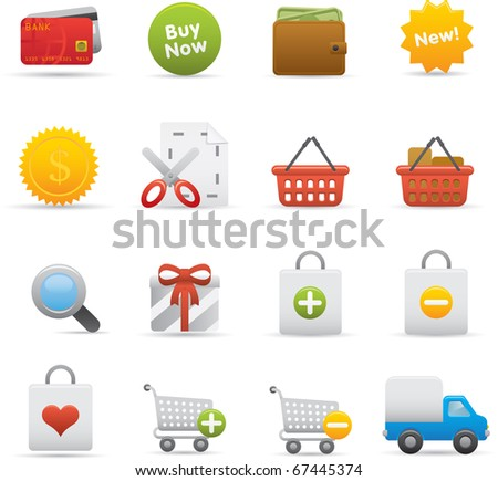 13 Shopping Icons Professional vector set for your website application or presentation The graphics can easily be edited color individually and scaled to any size - stock vector