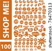 100 shopping & sales stickers, labels icons, signs, vector illustrations - stock vector