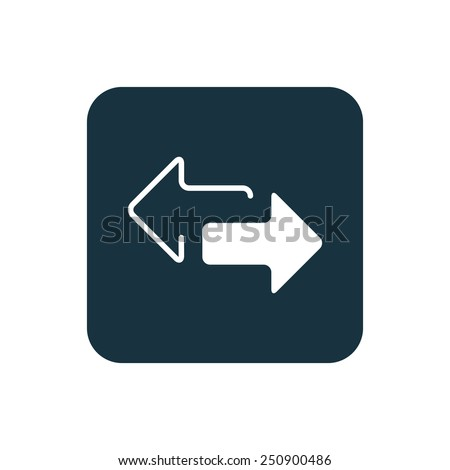2 side arrow icon Rounded squares button, on white background  - stock vector