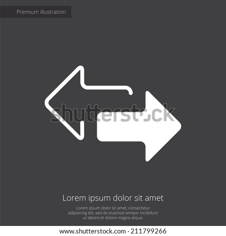 2 side arrow premium illustration icon, isolated, white on dark background, with text elements  - stock vector