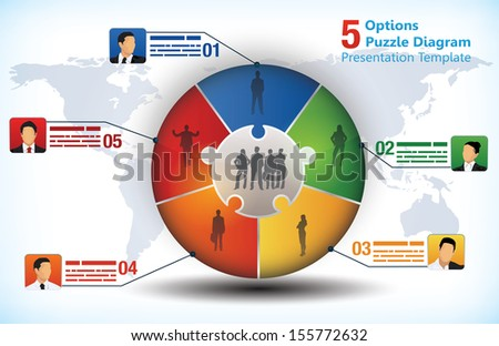 5 sided business chart with businessman avatars and place for text and a world map - stock vector