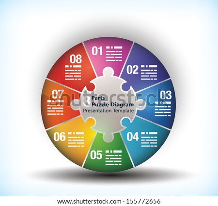 8 sided business wheel chart with place for text and connection between them - stock vector