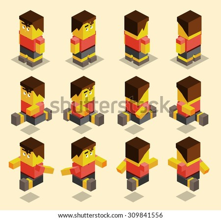 8 sided character set for game. isometric art - stock vector