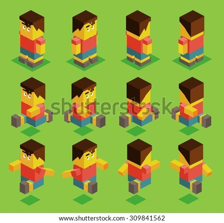 8 sided character set. isometric art - stock vector