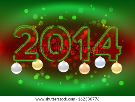 2014 sign with Christmas tree branches and baubles