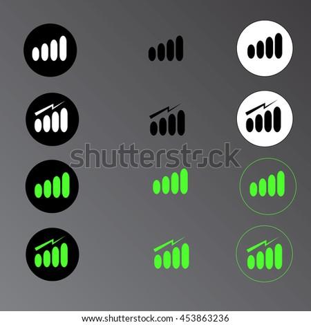 Signal strength indicator template  - stock vector