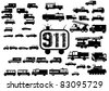 911 silhouette - stock vector
