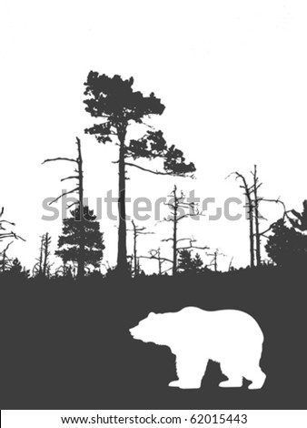 silhouette bear on background wild wood - stock vector