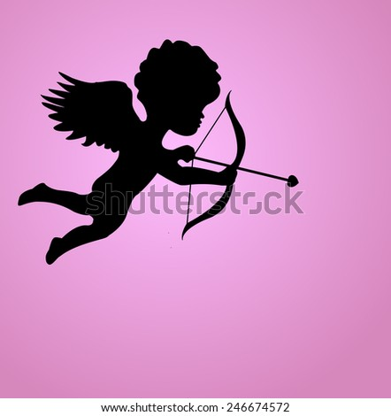 Silhouette cupid on a pink background (Valentine's Day) - stock vector