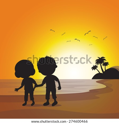 Silhouette elderly couple walking at sunset. Sunset beach background. - stock vector