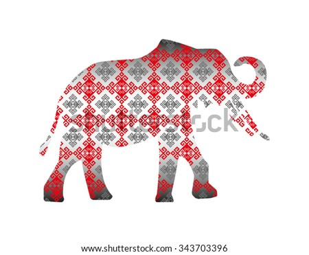 Silhouette of elephant with glossy pattern textile. - stock vector