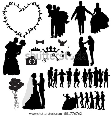 Wedding silhouette stock images royalty free images vectors silhouette of the wedding the wedding icons junglespirit Gallery