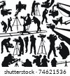 silhouettes of cameramen and camcorders - stock photo