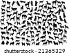 131 silhouettes of different breeds of dogs in action and static - stock vector
