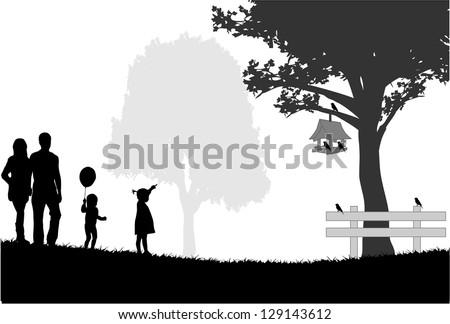 Silhouettes of the parents and children - stock vector
