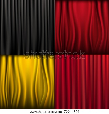 4 Silk Curtains, Vector Illustration - stock vector