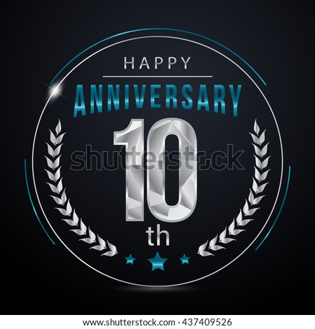 10 Silver anniversary logo, low poly design number