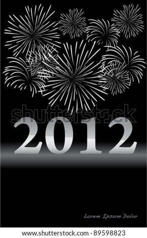 2012 Silver New Year celebration with fireworks. Vector