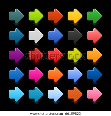 25 simple arrow sign web 2.0 icon. Colored button with reflection on black background - stock vector