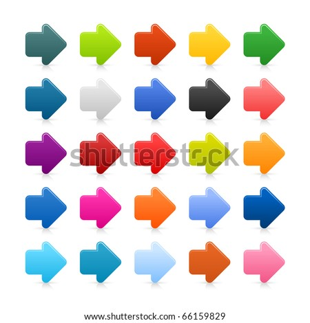 25 simple arrow sign web 2.0 icon. Colored button with shadow on white background - stock vector