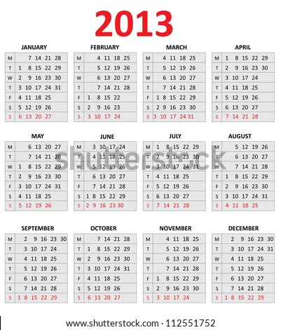 2013 Simple Calendar. Monday first day of the week - stock vector