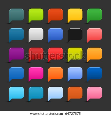 25 simple dialog speech bubble web 2.0 buttons. Colored smooth square shapes with shadow on gray background