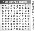 100 simple icons, universal icons - stock vector