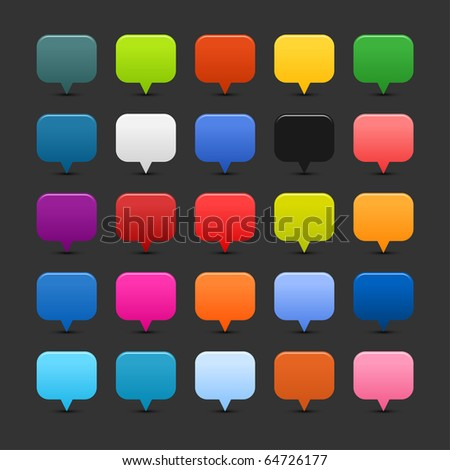 25 simple mapping pins web 2.0 buttons. Colored smooth square shapes with shadow on gray background - stock vector