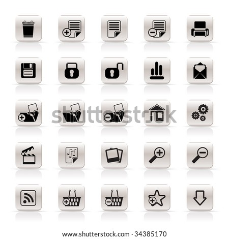 25 Simple Realistic Detailed Internet Icons - Vector Icon Set - stock vector