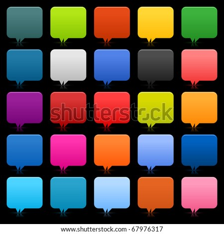 25 simple speech bubble web 2.0 buttons. Colored rounded square shapes with reflection on black background