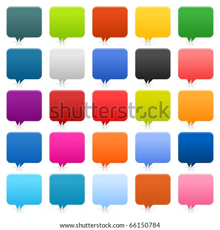 25 simple speech bubble web 2.0 buttons. Colored rounded square shapes with shadow and reflection on white background