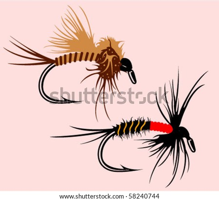 2 simple vector fishing hand made flies - stock vector
