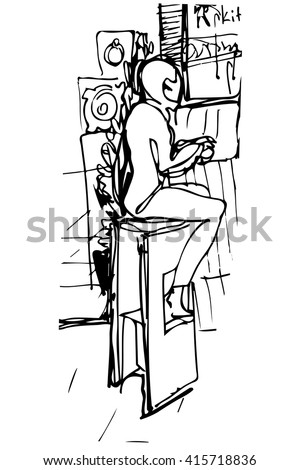 single woman drinking coffee at the bar on a stool - stock vector