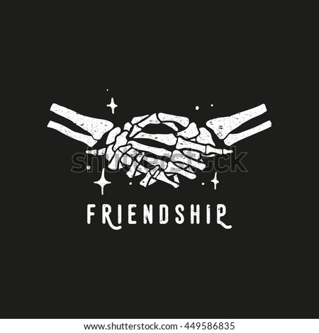 Skeleton Handshake Slogan Friendship Retro Vintage Stock Photo ...