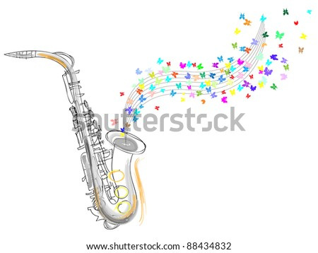 Sketch of the saxophone. vector illustration - stock vector