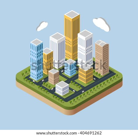 Skyscrapers and buildings in an isometric view.