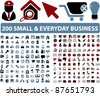 200 small & everyday business icons, signs, vector illustrations - stock photo
