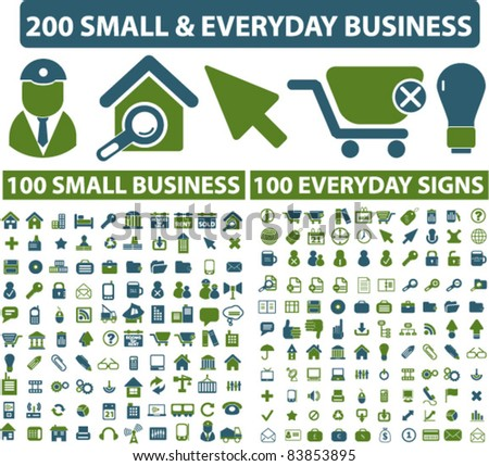200 small everyday business icons, signs, vector illustrations set - stock vector