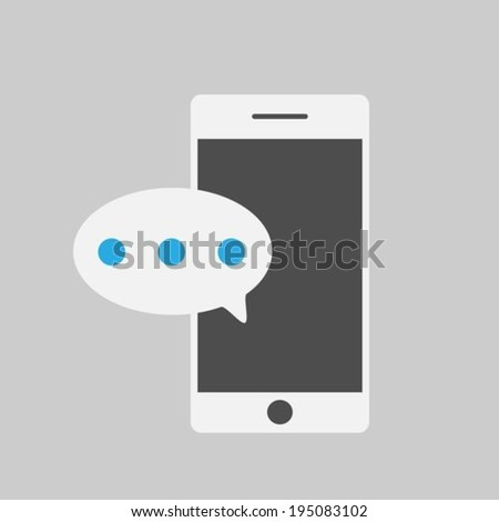 Smart phone with one new message - stock vector