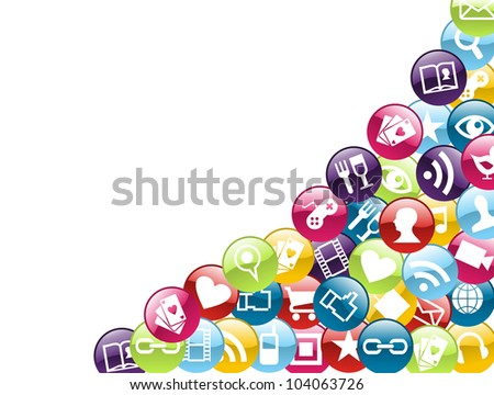 Smartphone app icon set isolated over white background. Vector file layered for easy manipulation and customisation. - stock vector