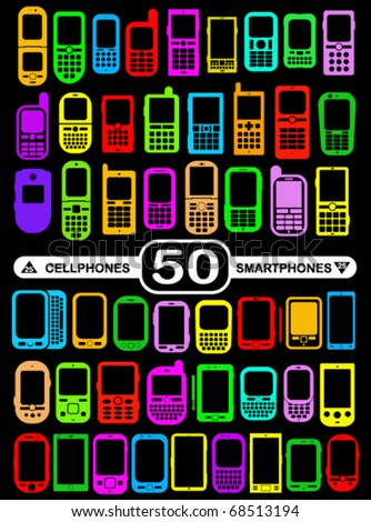 50 Smartphones and Cellphones in vivid colours - stock vector